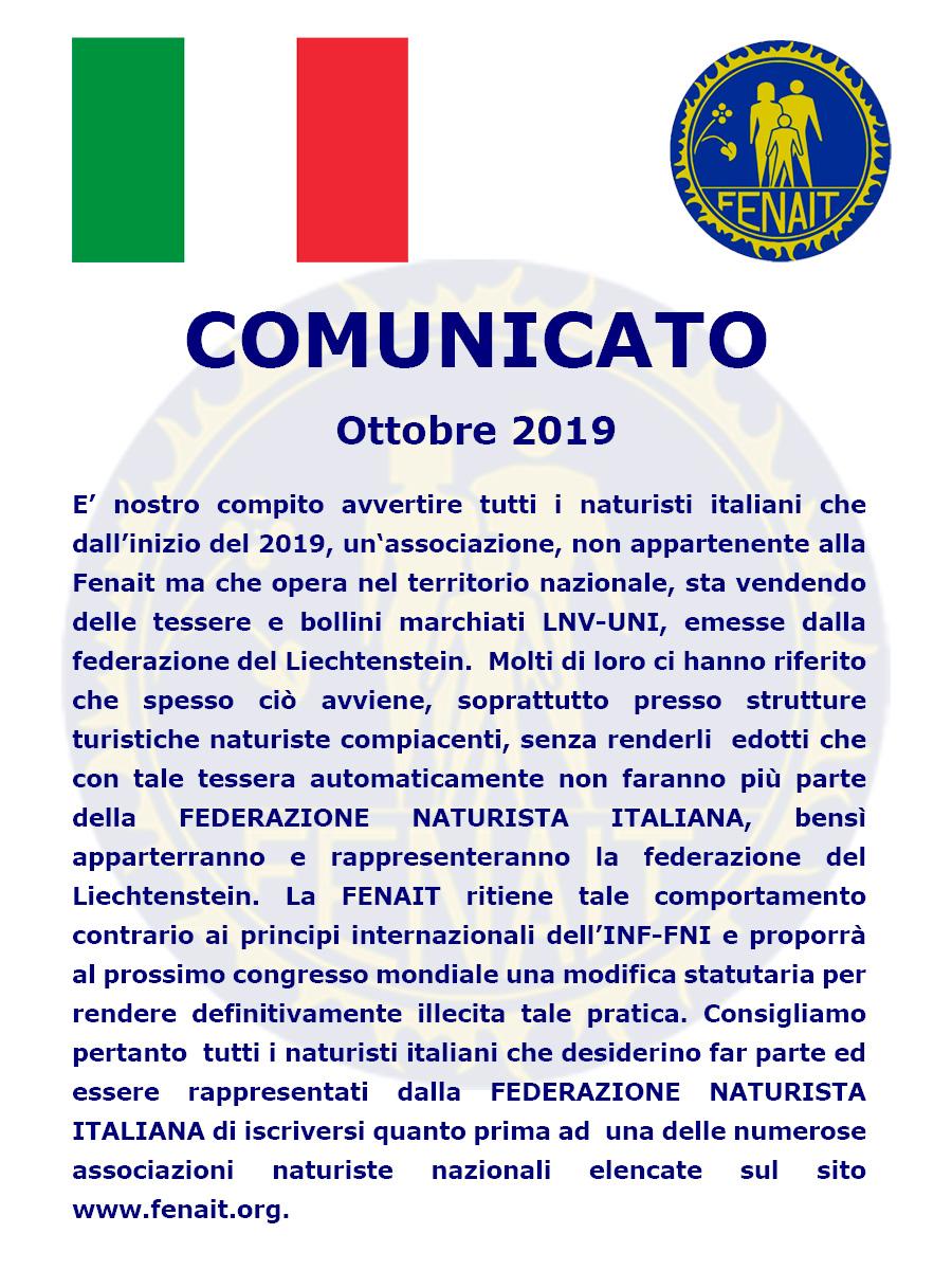 Comunicato  - Fenait